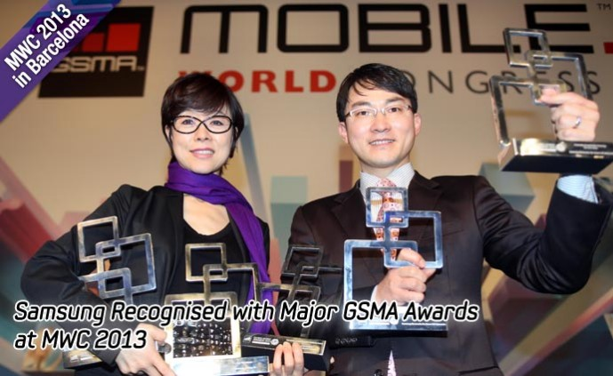 Samsung Recognised with Major GSMA Awards at MWC 2013