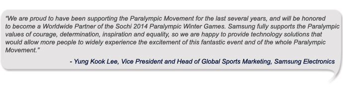 Samsung Becomes a Worldwide Partner of Sochi 2014 Paralympic Winter Games