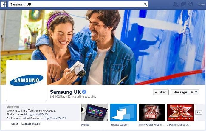 samsung uk facebook page