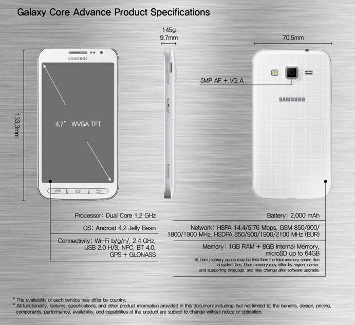 Galaxy Core Advance Product Specifications