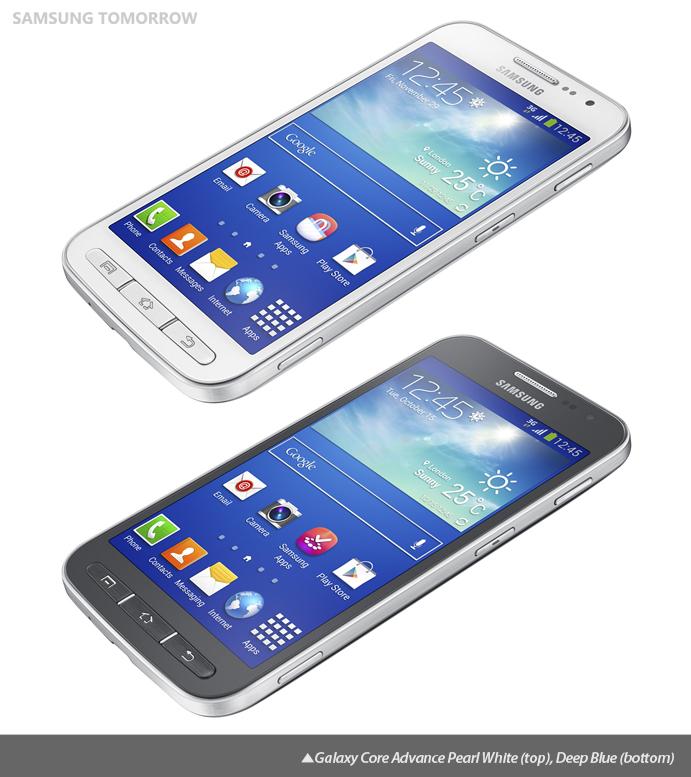 Galaxy Core Advance Pearl White (top), Deep Blue (bottom)