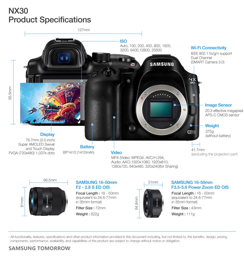Samsung NX30 Specifications