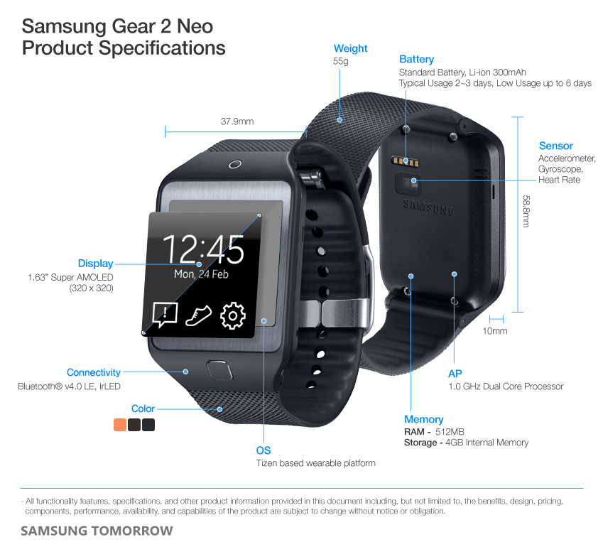 Samsung Gear 2 Neo Product Specifications