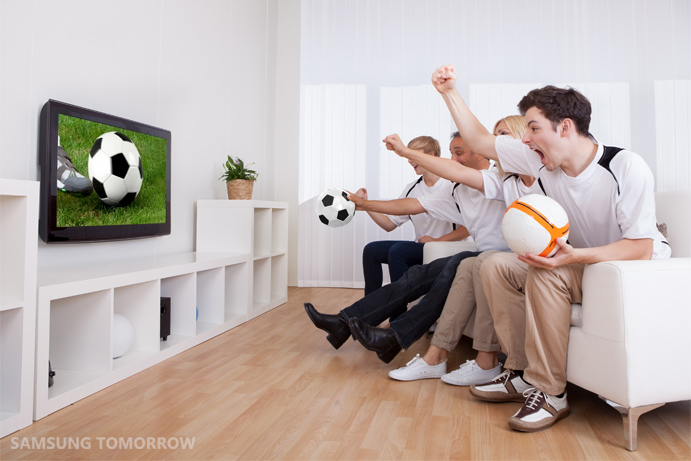 Watching soccer together on TV