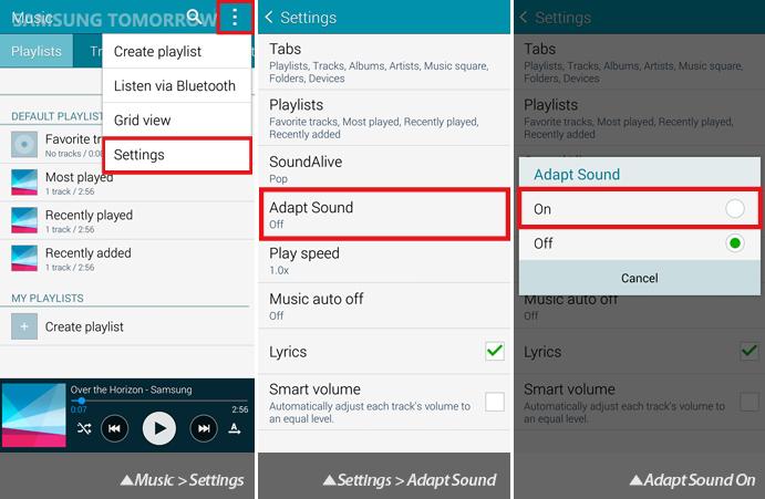 Galaxy S5 Audio: Adapt Sound (Setting)