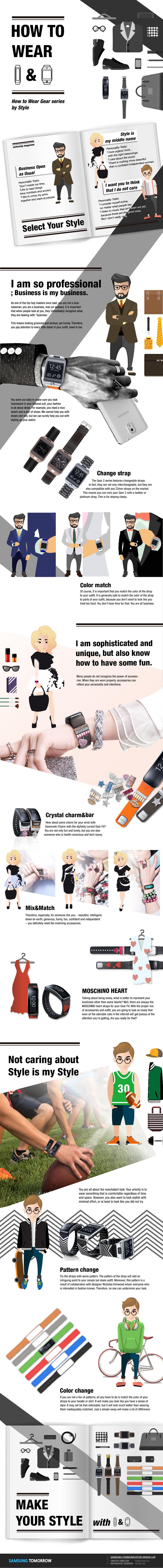 [Инфографика] Умный и стильный: Как подобрать часы Gear или браслет Gear Fit под одежду