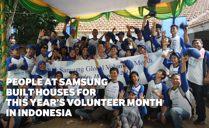 People at Samsung built houses for this year's Volunteer Month in Indonesia